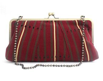 Clutch purse, Oversized Maroon clutch, Aso-oke, Handmade bag, OOAK, Striped, Vintage Alaari Aso-oke Megasnap Clutch, Urbanknit clutch