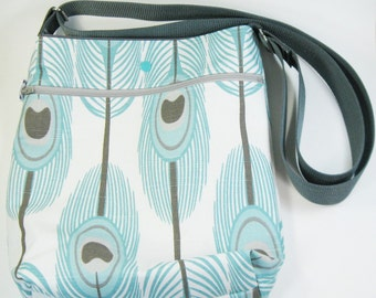 Across Body Bag / Over the Shoulder Bag / Crossbody Handbag - Aqua Peacock