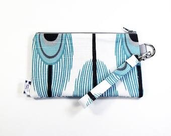 Wrist Purse / Wristlet Clutch / Cell Phone Wristlet - Aqua Peacock
