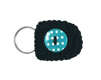 Keychain Coin Holder (W-KCN-090), coin purse, keychain coin purse, black keychain, small purse, small gift, coin keychain, black and blue