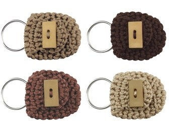 Keychain Coin Holders, set of 4, keychain coin purses, small coin purses, cute keychains, brown keychains, coin keychains, small gifts