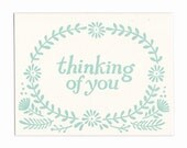 Thinking of You letterpress greeting cards, blank inside, set of five cards, Maine made, flowers, hand-printed, made in USA, friend, wreath