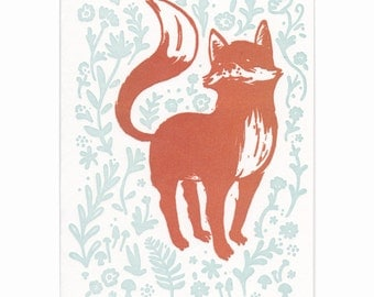 Fox letterpress greeting card, blank inside, Maine made, nature, flowers, hand-printed, made in USA, woodland, red fox, kit, vulpes, fauna
