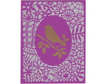 set of five greeting cards: metallic Gold Bird letterpress cards, handmade, blank inside, made in Maine, lace, pattern, purple, gold, silver