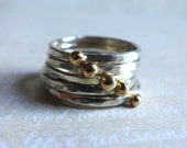 Set of 5 Sterling Silver Stacking Rings with 14K Gold Ball, Mixed Silver Gold Skinny Rings, Gold Dot Rings, Silver Gold Ball Ring