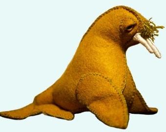 Stuffed Walrus Softie Felt Toy Doll **Featured in February 2015 STUFFED Magazine** Plush Animal Ocean Sea Creature Kids Toy