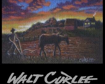 Artist Trading Card, Original ACEO Picture,Plowing Field Til Sunset Farm Landscape Oil Painting, Folk Art Americana, Appalachian