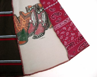Boot Scootin 1 Tee Skirt women Large XL tshirt skirt Country Western skirt paisley red bandana upcycled cowboy boots Gray stripes Tan OOAK