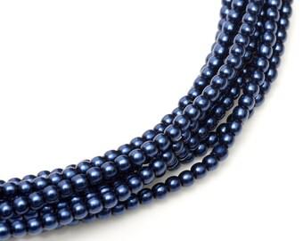2mm Ocean Blue Czech Round Glass Pearls Beads 50 pcs