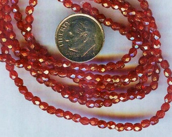 Fire Polished Faceted Czech Glass Round Beads Gold Siam Ruby 3mm 50pcs