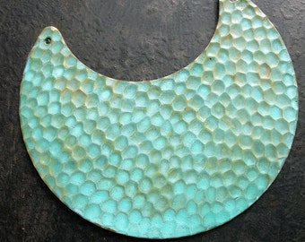 Hammered Brass Crescent Pendant in Aged Verdigris