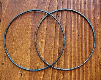 Aqua Shimmer Copper Circles - 1 pair - 2 inch Patina Copper Artisan Hoop Findings