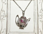 A Teapot of Rose Tea Silver-plated Necklace, Teapot Necklace, Rose Tea Necklace, Afternoon Tea Necklace, Girlfriend Gift