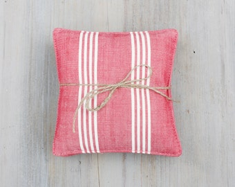 Vintage French Red Ticking Lavender Sachets, French Country Decor