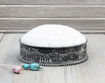 Vintage Silverplate Pincushion, Victorian Style, Shabby Home Decor