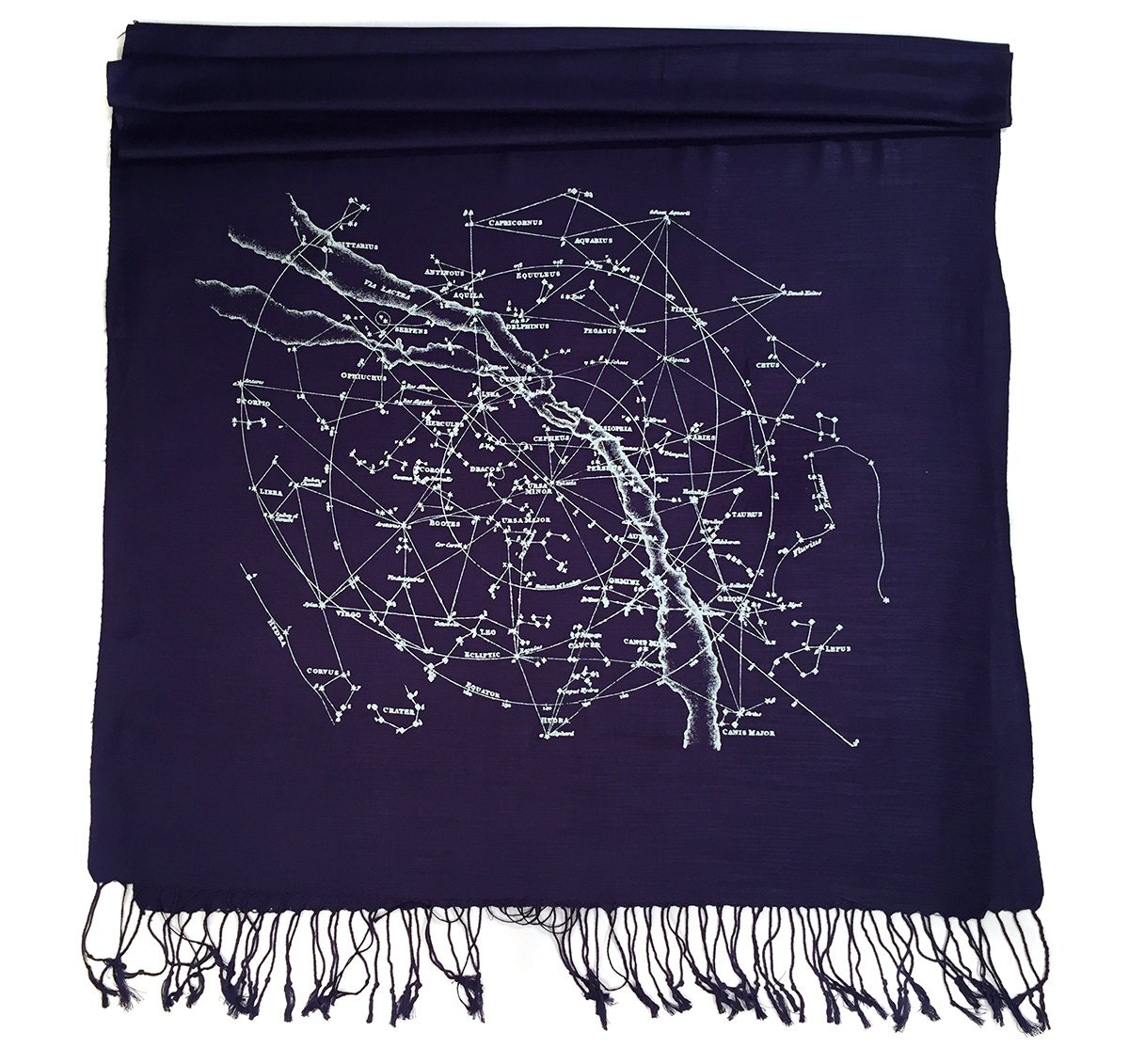 Constellation Print Scarf Night Sky Linen Weave By Cyberoptix