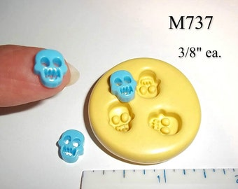 Skulls Charm Flexible Push Mold For Resin Polymer Candy Chocolate - Food Safe Silicone M737