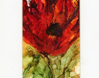 Painting with alcohol inks on yupo paper matted abstract flower original not print