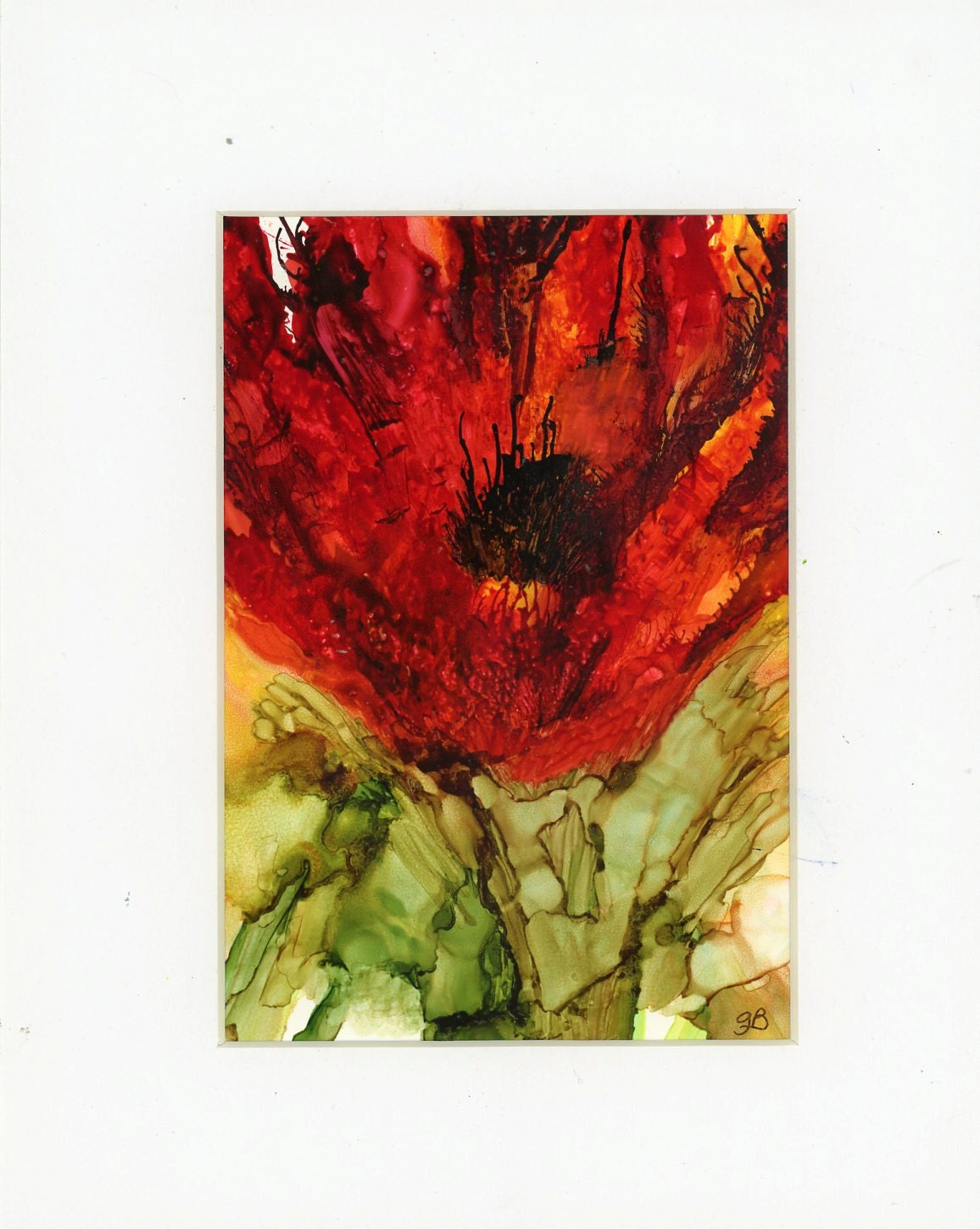 Painting With Alcohol Inks On Yupo Paper Matted Abstract