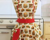 Retro Apron Burgers and Sandwiches on White - MAGGIE
