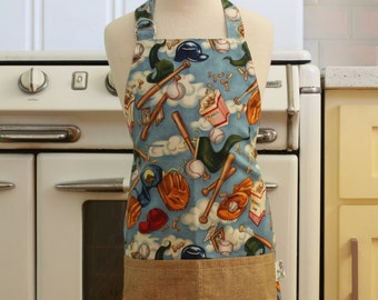 Chefs Apron for Little Boys - Baseball on Light Blue