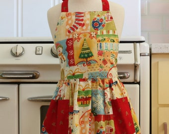 Vintage Inspired Christmas Theme Full Apron for Little Girls