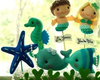 Personalized LOVE MERMAID Boy and Girl, Unique Wedding Cake Topper, Birthday Cake Decor, Nautical Theme Photo Prop, Miniature Felt Mermaids
