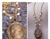 Gold Cameo Pendant Necklace - Lady Windemere's Talisman - vintage Cameo pendant with pearl accents