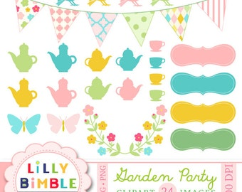 60% off Garden Party clipart for cards, Birds, Teaparty, teapot, bunting floral DIGITAL DOWNLOAD