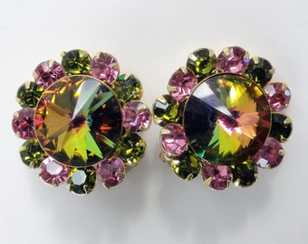 Juliana?  Watermelon Rivoli Rhinestone earrings. Crystal, High end, Clip-on Heliotrope