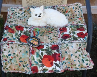 Cat Blanket, Cat Bed, Small Dog Bed, Cat Quilt, Red Cat Blanket, Luxury Cat Bed, Fabric Cat Bed, Colorado Catnip Blanket, Cat Bed With Toy