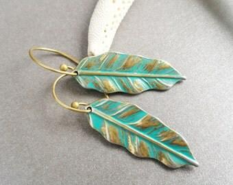 Brass Turquoise Leave Earrings, Leaf Earrings, Turquoise Earrings, Brass Earrings, Gold Earrings