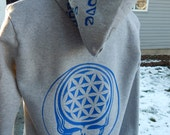 Upcycled Gray Zip up Hoodie Sacred Geometry Grateful Dead Steal Your Face Hoodie  Size Medium M Hippie clothes,  Zip up hoodie
