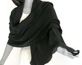 Black Silk Shawl, Silk Crepe Wrap, Solid Black Formal, Evening Wide Wrap, Special Occasion Scarf, Crepe Large Shawl, S M L XL Plus Size.