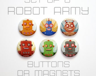 "Retro Robot Buttons 1 inch or Magnets Set of 6- 1"" Retro Robot Magnets or Buttons- Retro Robot Pinbacks- Retro Robot Party Favors"