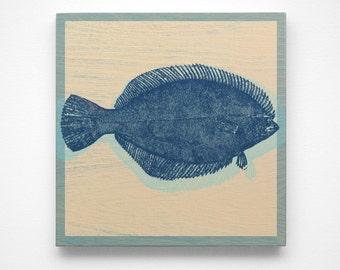 Winter Flounder Art Block- Coastal Beach Decor- Prints for Nursery Signs- Prints Beach Gifts- Beach Art- Flounder Gifts- Coastal Gifts