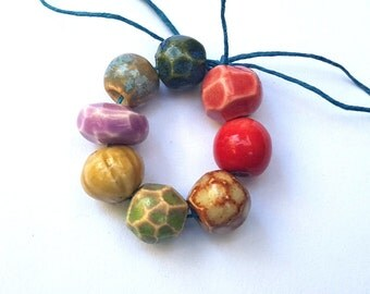 Beautiful Colors Ceramic Porcelain Clay Bead Mix Handmade Red Pink Dark Blue Peach Green Avocado Latte