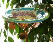 Glass and Copper Bird Feeder Lime, Deep Aqua, Grape