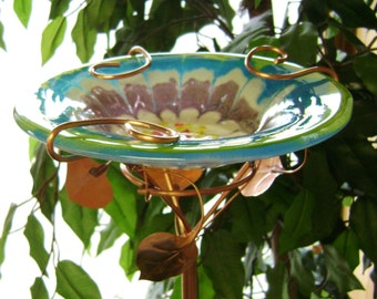 Glass and Copper Bird Feeder Lime, Deep Aqua, Grape