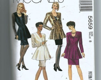 McCall's  Misses' Lined Jacket, Tank Top and Skirt Pattern 5659
