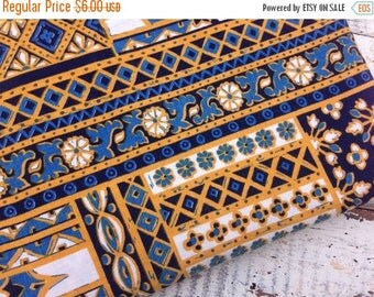 30% OFF SUPER SALE- Retro Patchwork Fabric-Reclaimed Table Linen Fabric-Blue and Yellow