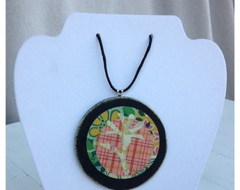 30%OFF SUPER SALE- Graphic Necklace Pendant-Wooden Disc Pendant-Weathered Little Flower-#46