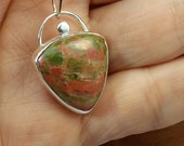 Unakite and Sterling Necklace, Gift for Cat Lover, Locket Shape