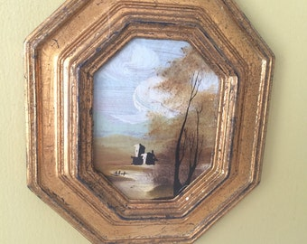 Pastoral Scene Oil Painting with Gold Florentine Frame // Wall Hanging Artwork