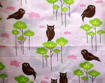 Robert Kaufman Hot Couturier Owls on Pink - Rare out of Print Fabric 1/3 yard piece