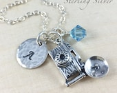 Personalized Sterling Silver Camera Charm Necklace, Photographer Gift, Camera Charm, Personalized Gift, Initial and Birthstone Jewelry