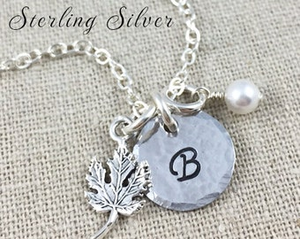 Personalized Maple Leaf Charm Necklace - Sterling Silver Initial Necklace, Sterling Silver Maple Leaf Charm, Nature Lover Personalized Gift