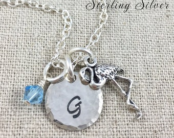 Sterling Silver Petite Flamingo Charm Necklace, Hand Stamped Initial Necklace, Birthstone Jewelry, Personalized Flamingo Charm Necklace