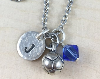 Personalized Soccer Ball Charm Necklace, Hand Stamped Initial & Birthstone Jewelry, Soccer Team Gift, Soccer Coach Gift, Soccer Mom Jewelry
