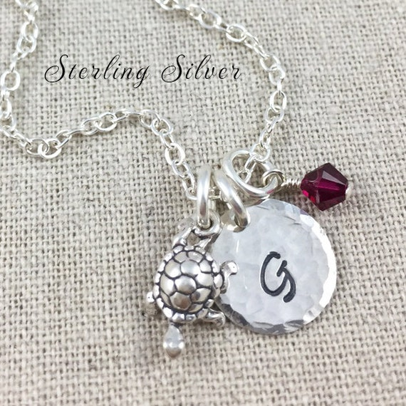 Personalized Turtle Charm Necklace, Hand Stamped Initial Necklace, Sterling Silver Turtle Charm Necklace, Turtle Gift, Personalized Gift